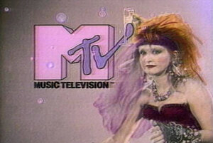 """Cyndi Lauper, Mick Jagger, Pat Benatar and David Bowie are some of the musicians featured in the channel's 1982 """"I Want My MTV"""" campaign."""