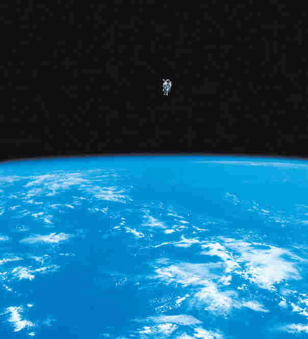Navy Capt. Bruce McCandless becomes the first free-flying human in space on Feb. 7, 1984.