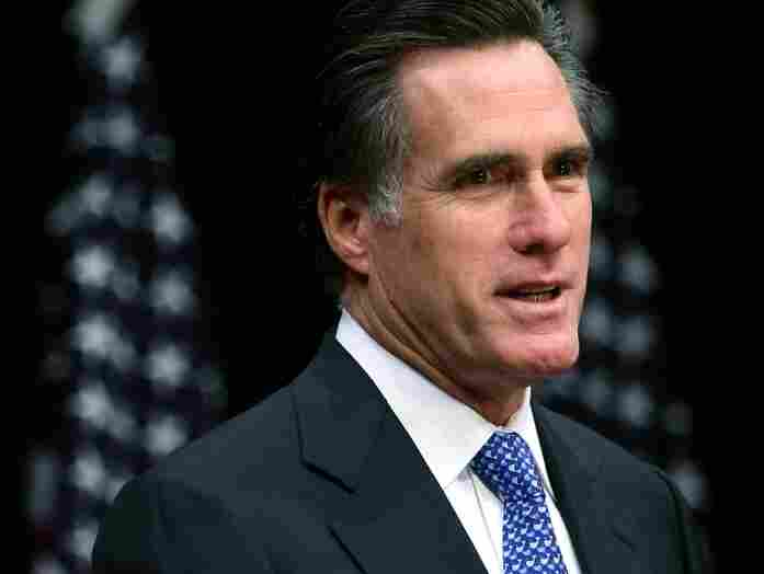 Former Massachusetts Governor and Republican President hopeful Mitt Romney speaks on faith in America at The George Bush Presidential Library on Texas A & M University campus Dec. 6, 2007 in College Station, Texas.