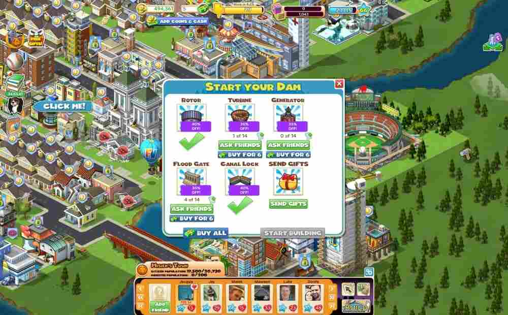 """A screenshot of Piskorskiville. Five percent of Zynga's 200 million monthly users buy """"virtual goods"""" to get ahead in the game or beautify their city."""