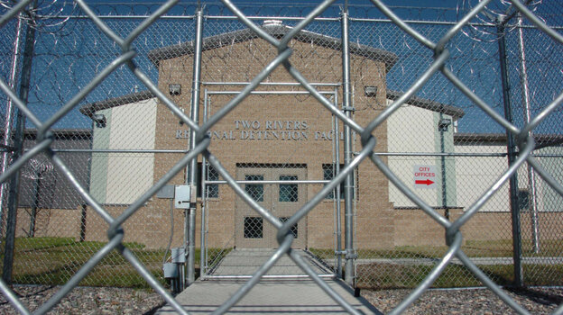 The entrance to the Two Rivers Regional Detention Facility in Hardin, Mont. The 464-bed detention facility was built with the promise of bringing jobs and stimulating the economy, but it has sat empty since it was completed in 2007.