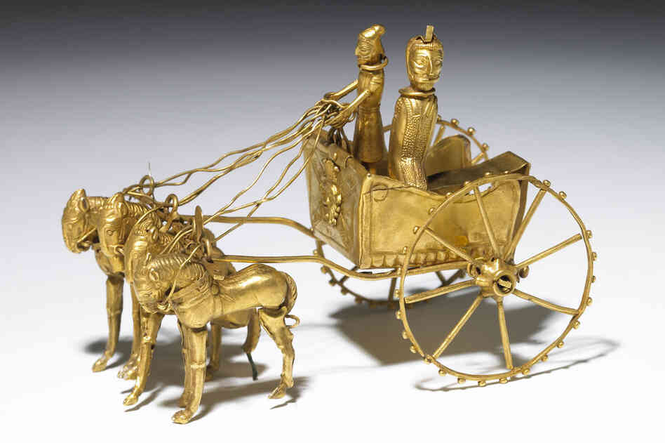 "The Oxus chariot model was found near the modern borders of Tajikistan and Afghanistan, but its metalwork hints at origins in the Persian Empire, between 500 and 300 B.C. According to art historian Neil MacGregor, the miniature's location and design is representative of the transportation advancements made by ""the first great 'road' empire of history."""