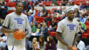 Oklahoma City Thunder forward Kevin Durant (left) and Miami Heat forward LeBron James warm up before an NBA charity basketball invitational game in Oklahoma City on Oct. 23. The NBA had a series of exhibition games to keep players in the spotlight during the lockout. The lockout is hurting local businesses and arena employees in Oklahoma City.