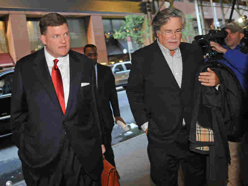 Oklahoma City Thunder owner Clay Bennett (left) and Miami Heat owner Micky Arison arrive at a midtown hotel where NBA labor talks were held Nov. 5 in New York City.