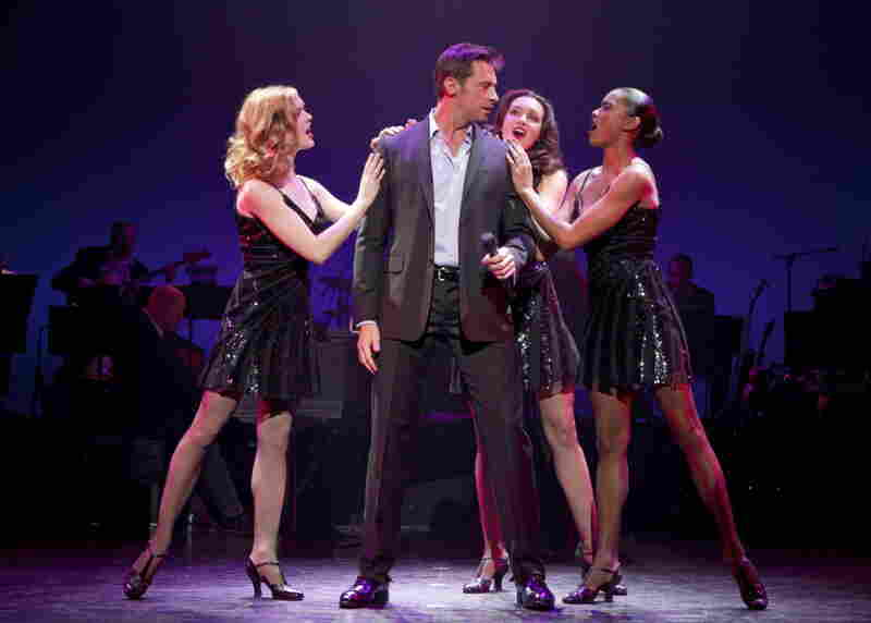 Jackman (with Emily Tyra, left, Lara Seibert and Kearran Giovanni) has the moves of a serious song-and-dance man, says Back on Broadway director-choreographer Warren Carlyle.