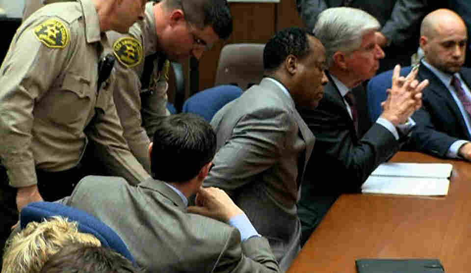 Deputies place handcuffs on Dr. Conrad Murray after his conviction on involuntary manslaughter charges in the death of pop star Michael Jackson, in Los Angeles Superior Court Monday.