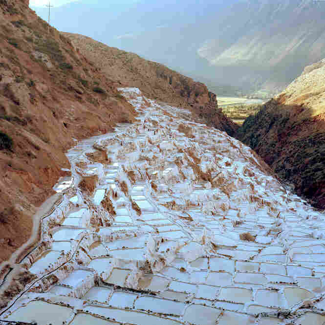 The ancient salt terraces at Maras, Peru, are used to evaporate supersalty water from a subterranean stream.
