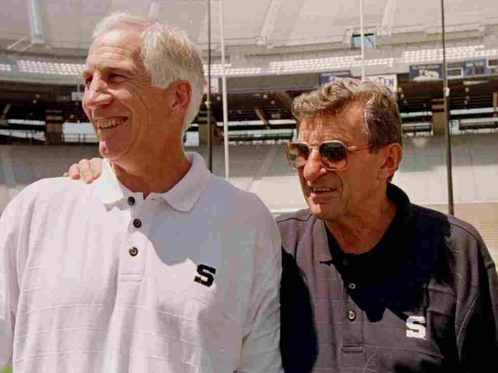 Aug. 6, 1999: Penn State head football coach Joe Paterno, right, with his then-defensive coordinator Jerry Sandusky.