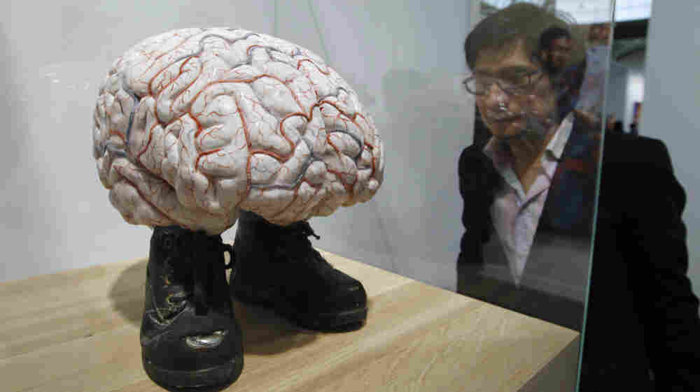 """A visitor looks at the """"Brain of Van Gogh"""" by Belgian artist Jan Fabre on October 19, 2011 at the Grand Palais in Paris."""