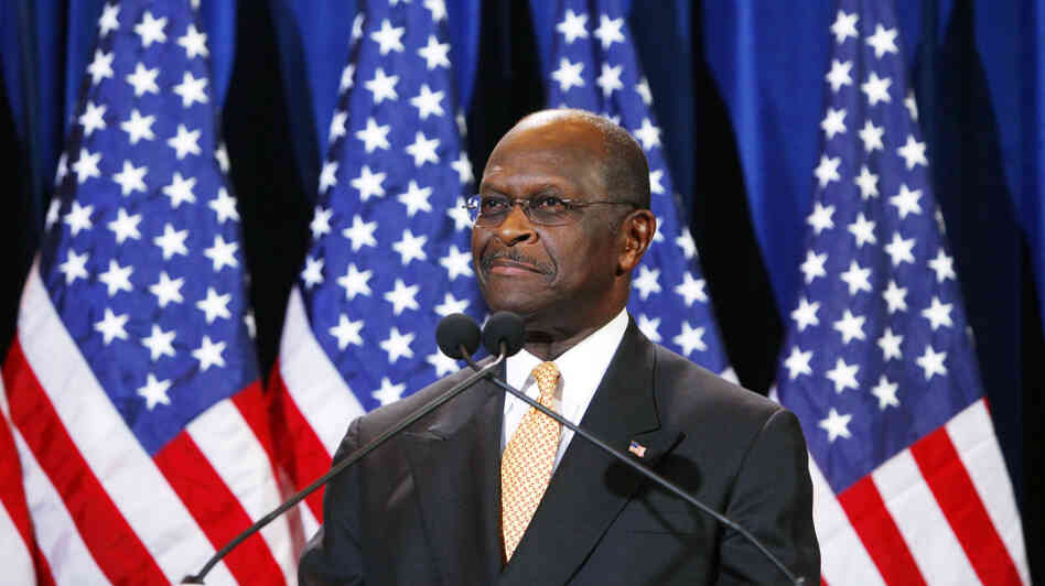 Republican presidential candidate Herman Cain speaks at a press conference in Arizona.