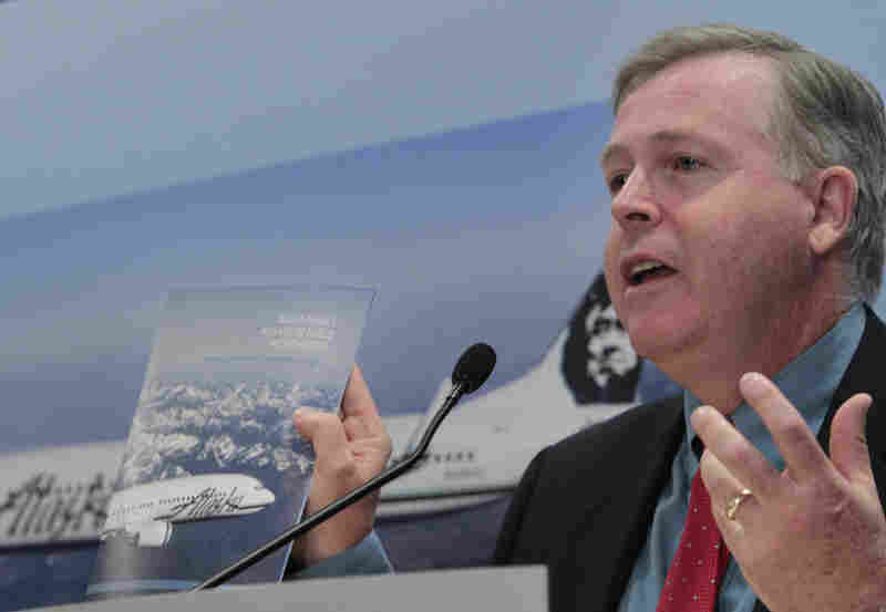 Bill Glover, vice president of environmental and aviation policy for Boeing, discusses biofuel feasibility at Sea-Tac Airport in Seattle in May.