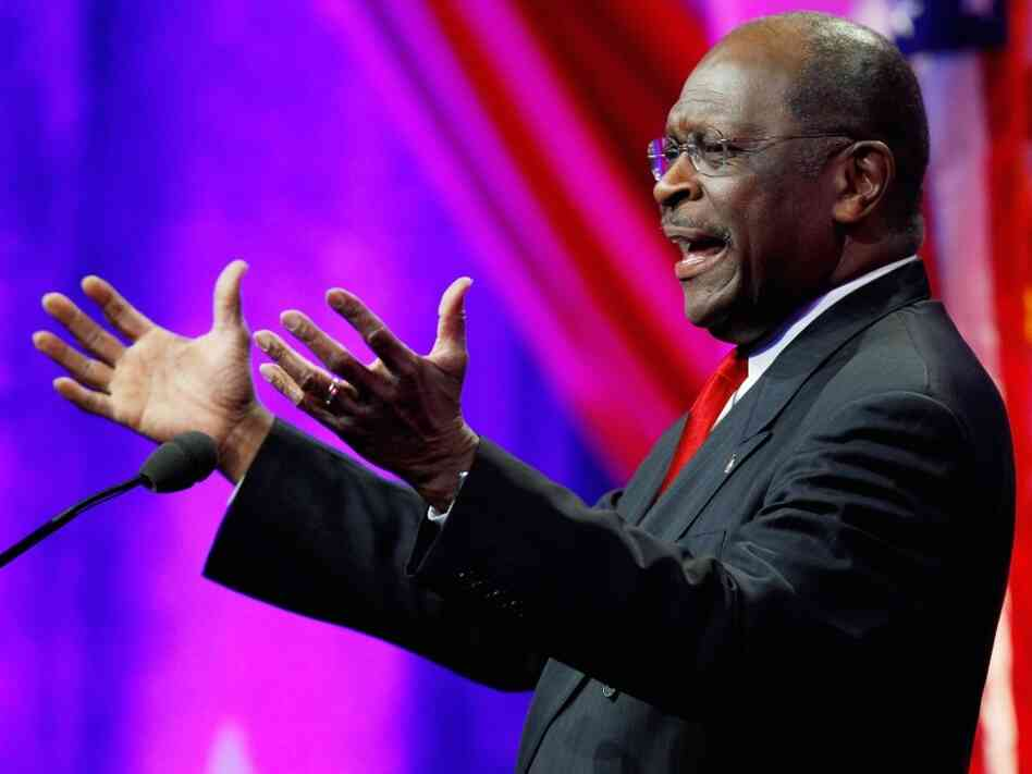 Republican presidential candidate and former Godfather's Pizza CEO Herman Cain addresses the Defending the American Dream Summit on Nov. 4 in Washington, D.C.