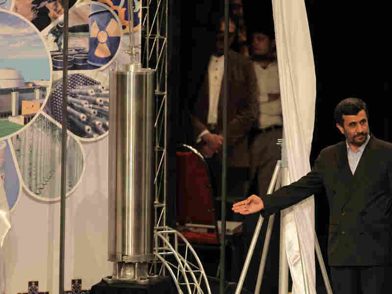 Iranian President Mahmoud Ahmadinejad unveils a sample of the third generation centrifuge for uranium enrichment during a ceremony in Tehran on April 9, 2010. Iran says its nuclear ambitions are peaceful.