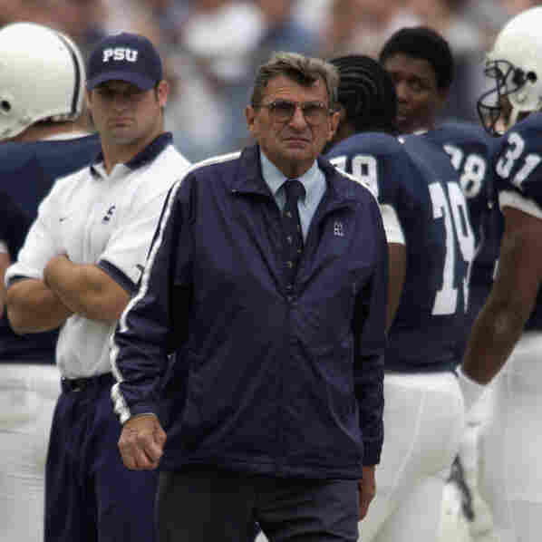 Head coach Joe Paterno of the Penn State Nittany Lions walks on the sideline during the Big Ten Conference football game against the Iowa Hawkeyes on Sept. 28, 2002 at Beaver Stadium in State College, Pa.