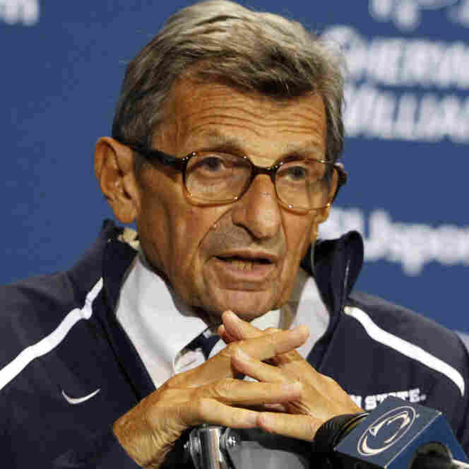 Penn State head coach Joe Paterno addresses the media after a game on Sept. 3, 2011, at Beaver Stadium in State College, Pennsylvania.