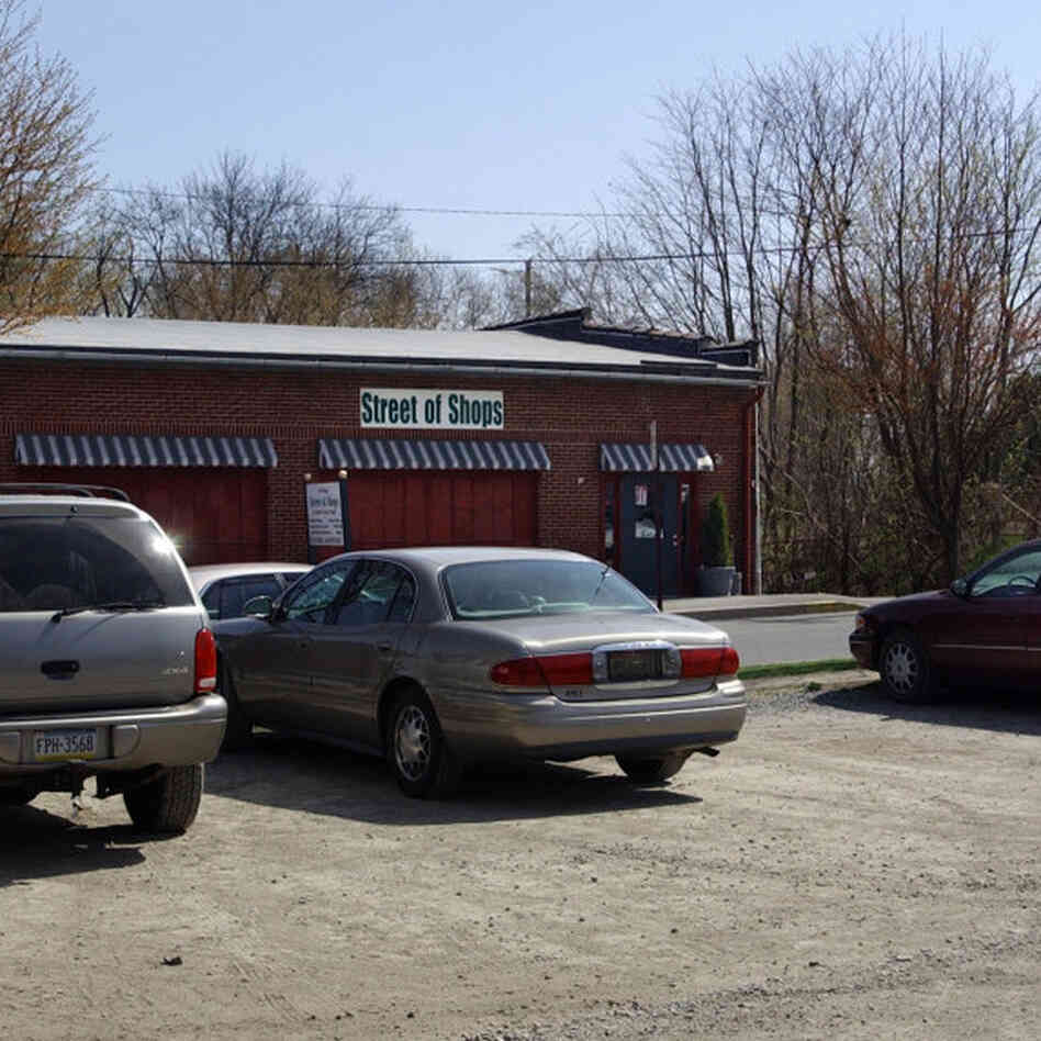 A parking lot adjacent to an antique shop in Lewisburg, Pa., shown Sunday, April 17, 2005, is where the red and white Mini Cooper, driven by missing Centre County District Attorney Ray Gricar, was found by Pennsylvania State Police.