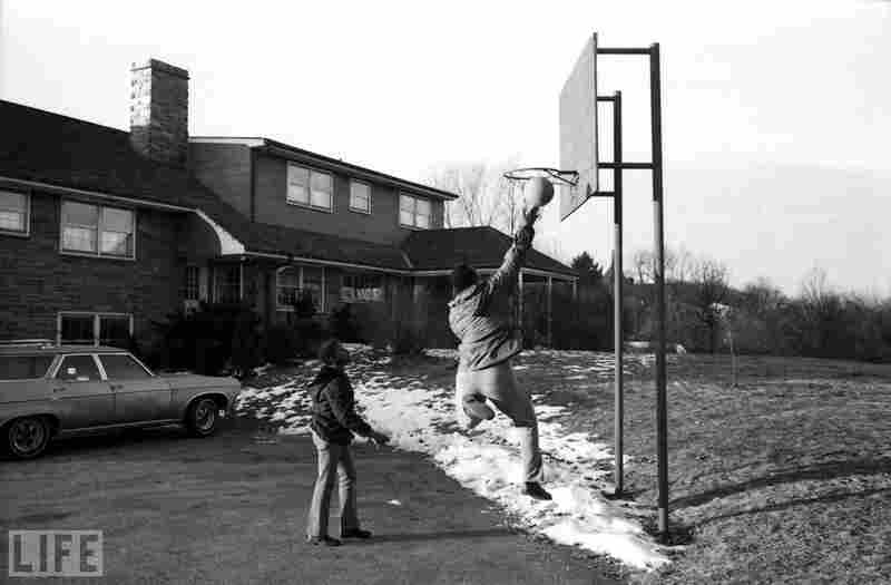 Frazier playing basketball in rural Pennsylvania, winter 1971