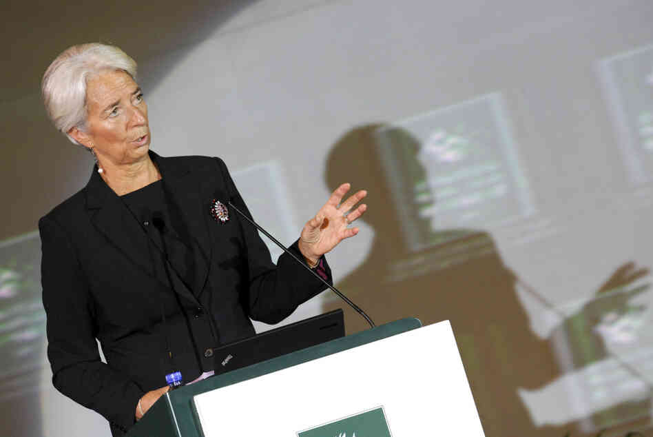 International Monetary Fund chief Christine Lagarde delivers her speech at the International Finance Forum