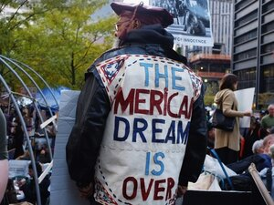 Participants in the Occupy Wall Street Movement stand in Zuccotti Park in the Financial District near Wall Street on Nov. 8, 2011 in New York City.