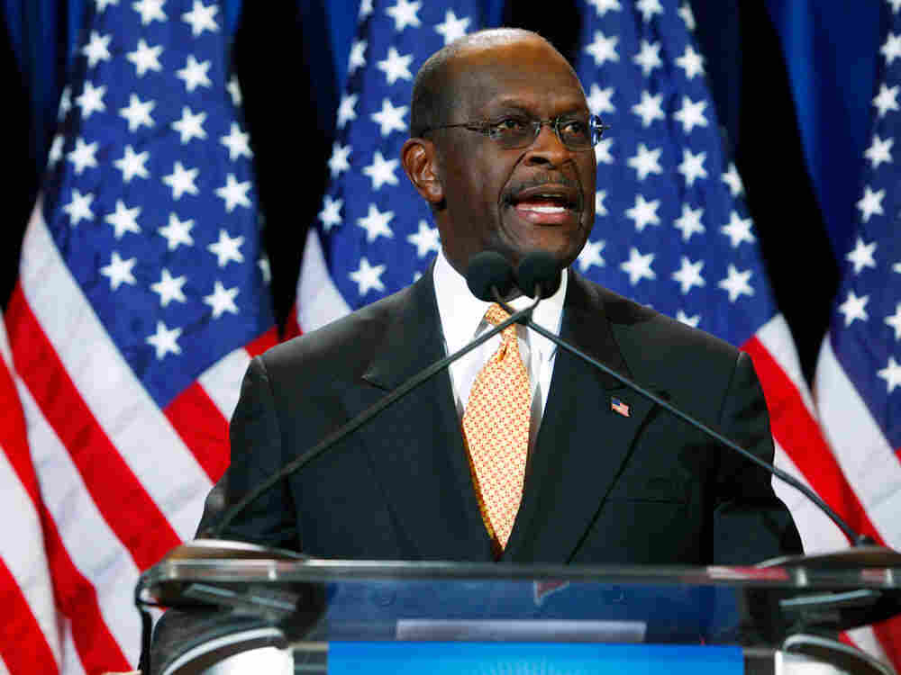 Republican presidential candidate and former Godfather's Pizza CEO Herman Cain speaks at a press conference November 8, 2011 in Scottsdale, Arizona.