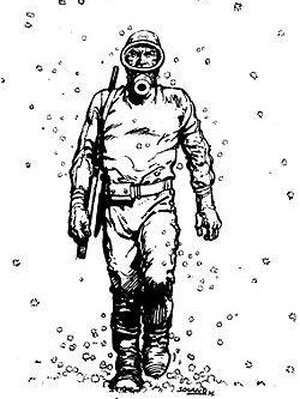 """""""El Eternauta"""", wearing a hazard suit to protect him from deadly snow."""