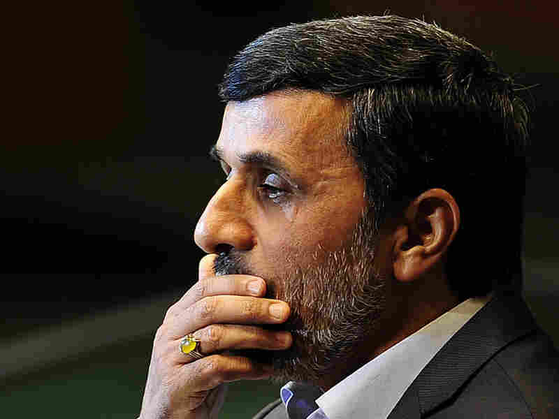 Conflict between supporters of Iran's President Mahmoud Ahmadinejad (shown here Sept. 22 at United Nations headquarters in New York) and the country's supreme leader, Ayatollah Ali Khamenei, is among a number of factors that analysts say are weakening Iran's position in the region.