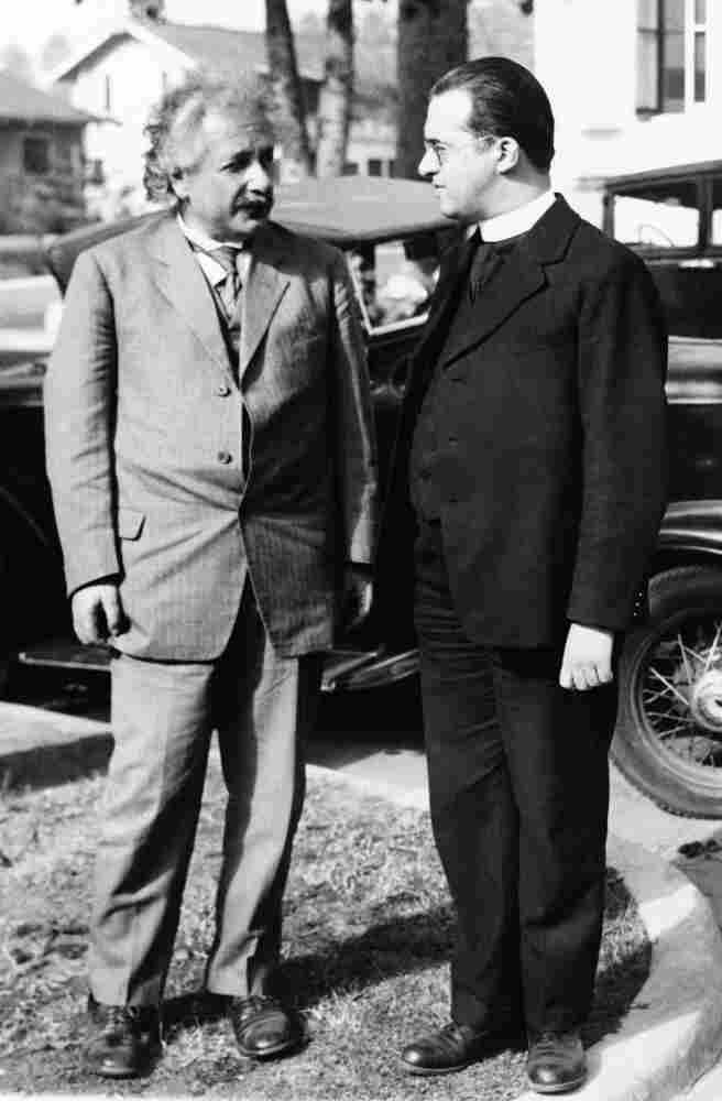 Astronomer Georges Lemaitre (right) speaks with Albert Einstein after a talk in Pasadena, Calif., in 1932. Lemaitre first published a paper on the expansion of the universe in 1927, but it ran in a minor French scientific journal. The study was republished in 1931, but with key sections missing; a recently found letter indicates it was Lemaitre himself who made the edits.