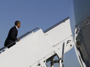 President Obama prepares to board Air Force One before departing Andrews Air Force Base for Philadelphia on Tuesday. He heads to Hawaii this week, where the U.S. is hosting the Asia-Pacific Economic Cooperation forum.
