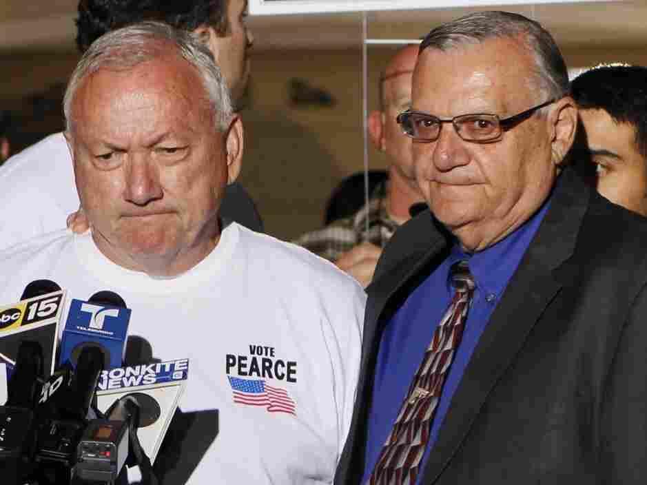 Recalled Arizona State Sen. Russell Pearce with Maricopa County Sheriff Joe Arpaio, in Mesa, AZ, Tuesday, Nov. 8, 2011.