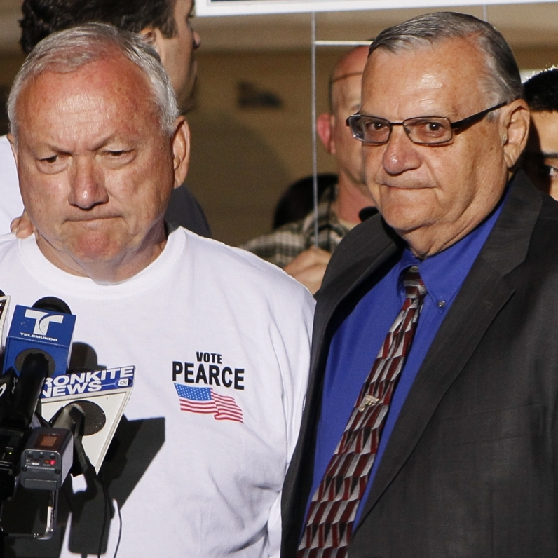 Recalled Arizona State Sen. Russell Pearce with Maricopa County Sheriff Joe Arpaio, in Mesa, AZ, Tuesday, Nov. 8, 2011.