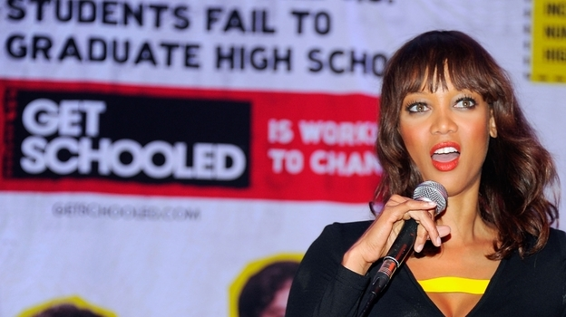 Tyra Banks and the national Get Schooled Foundation