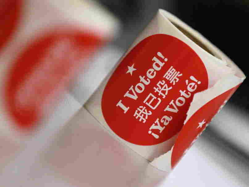 Voter stickers at a polling station Tuesday in San Francisco.