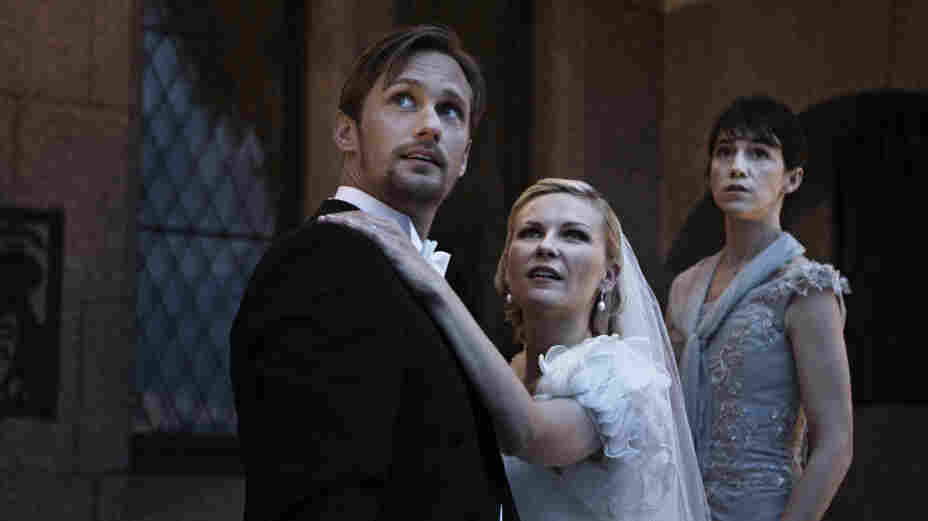 A bride (Kirsten Dunst, with Alexander Skarsgard and Charlotte Gainsbourg) battles depression — and the possible end of the world — in Melancholia.