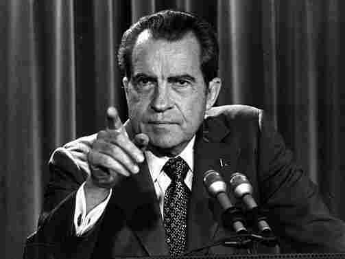 In this March 15, 1973, White House news conference, President Nixon says he will not allow his legal counsel, John Dean, to testify in the Watergate investigation and challenges the Senate to test him in the Supreme Court.