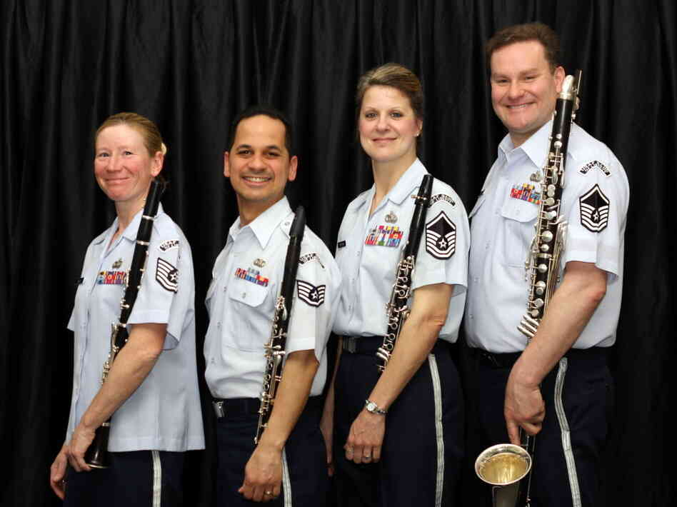 The Bay State Winds feature, from left to right, TSgt. Christy Bailes, SSgt. Matthew Ayala, MSgt. Jennifer Dashnaw and MSgt. Kevin Connors