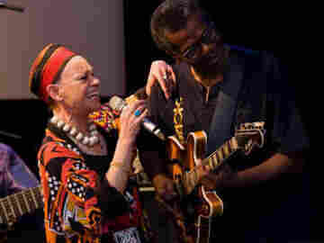 Vocalist Mfa-Kera and guitarist Mike Russell performing from their album Talking Africa.