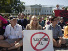Actress Daryl Hannah with other anti-Keystone XL protestors at the White House in August 2011.