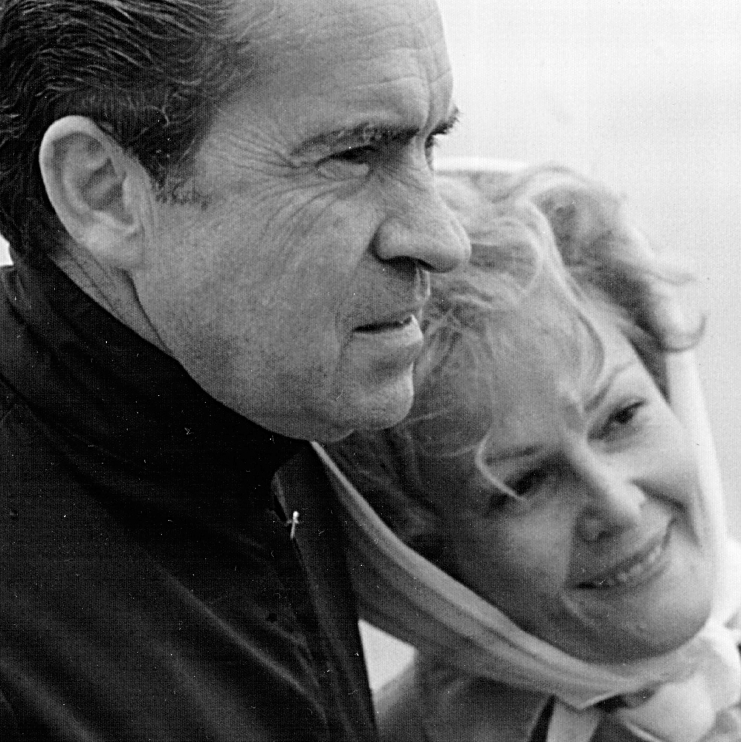 President and Mrs. Nixon look at the ocean Jan. 13, 1971, at a beach in San Clemente, CA.