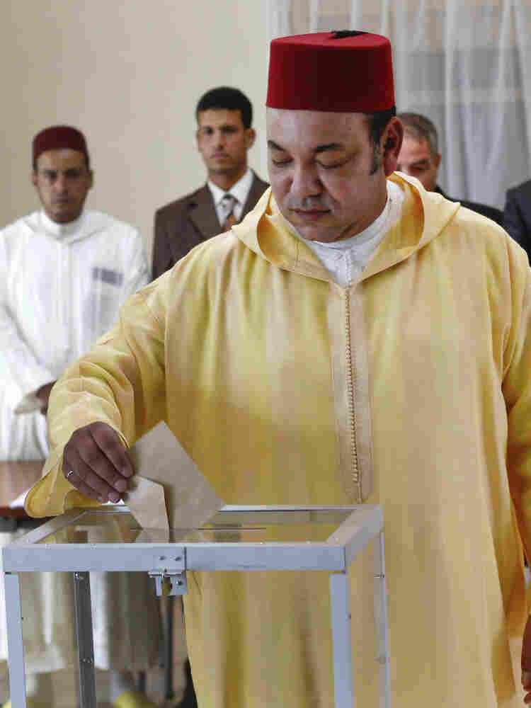 Morocco's King Mohammed VI votes in Rabat, Morocco, on July 1. The king took part in a referendum on the new constitution that was overwhelmingly approved. It introduced limited changes, but kept the king firmly in control.