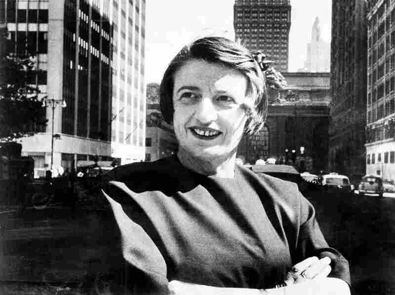 Ayn Rand, the Russian-born American novelist, is shown in Manhattan with the Grand Central Terminal building in the background in 1962.