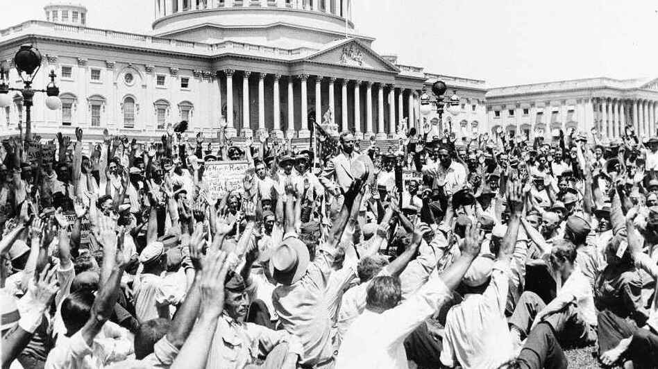 On July 13, 1932, Brig. Gen. Pelham D. Glassford, superintendent of the Washington, D.C., police, asked a group of war veterans on the Capitol grounds to raise their hands if they had served in France and were 100 percent American. (AP)