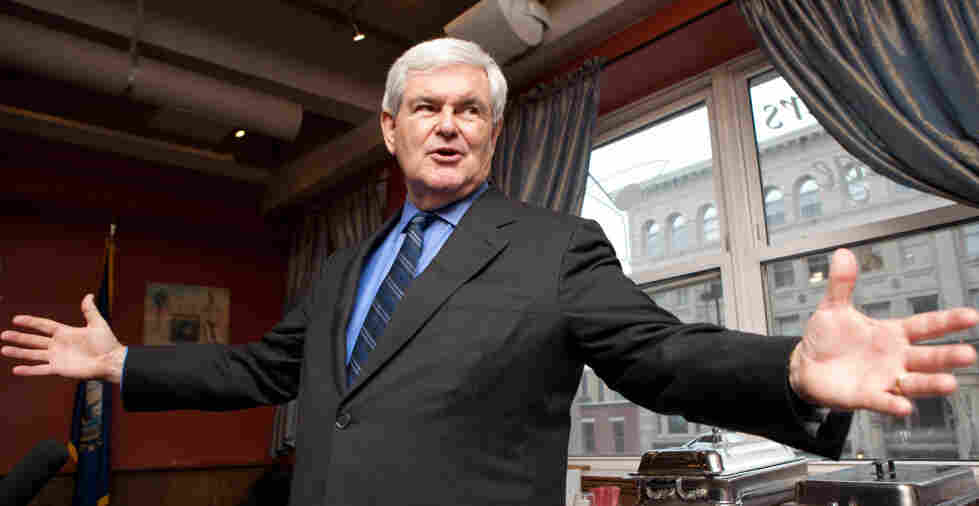 Republican presidential hopeful Newt Gingrich is shown speaking in New Hampshire in May, before he announced his candidacy. Two months later, most of his campaign staff quit. Now, he finds himself in the top tier in the race for the nomination.