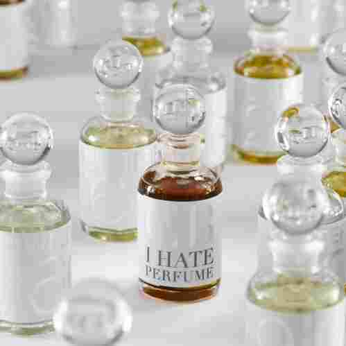 "A Labor of Love: For his ""I Hate Perfume"" collection, Christopher Brosius blends and bottles all of his scents by hand in his workshops. The process may be labor-intensive, but it allows him to create singular scents that can't be mass-produced."