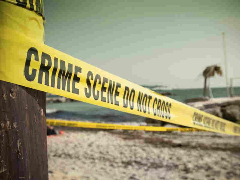 A crime scene at a beach.
