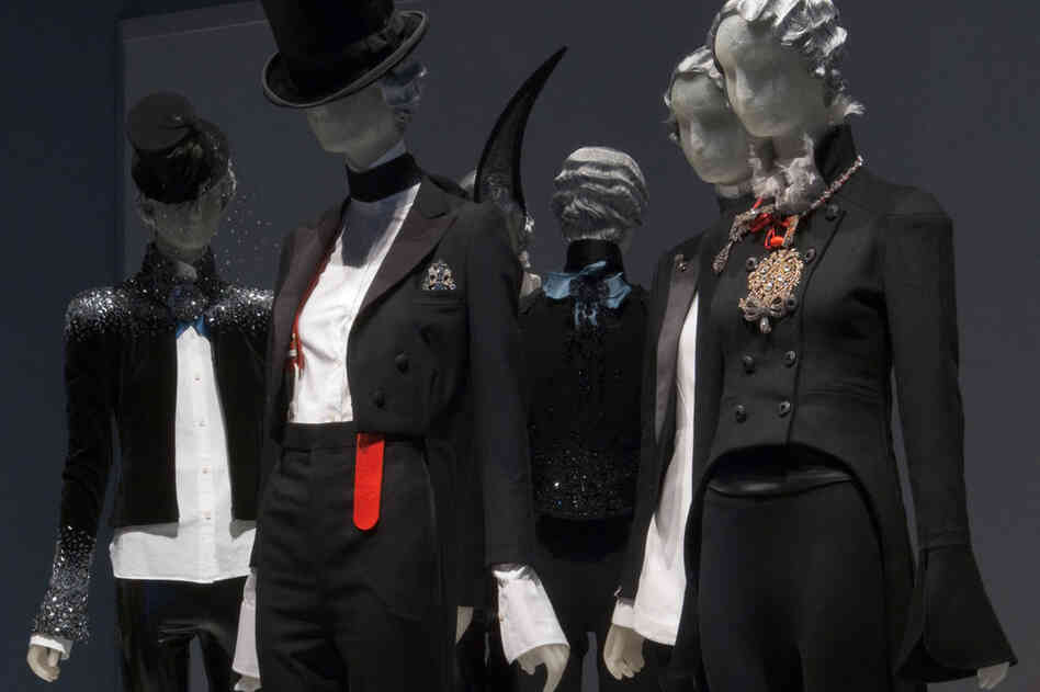 Always on the cutting edge, style icon Daphne Guinness' wardrobe consists of more than 3,000 garments and accessories, approximately 100 of which are now on display at the Museum at FIT in New York. The exhibit features an array of pantsuits that incorporate whimsical motifs for a feminine take on traditional menswear.