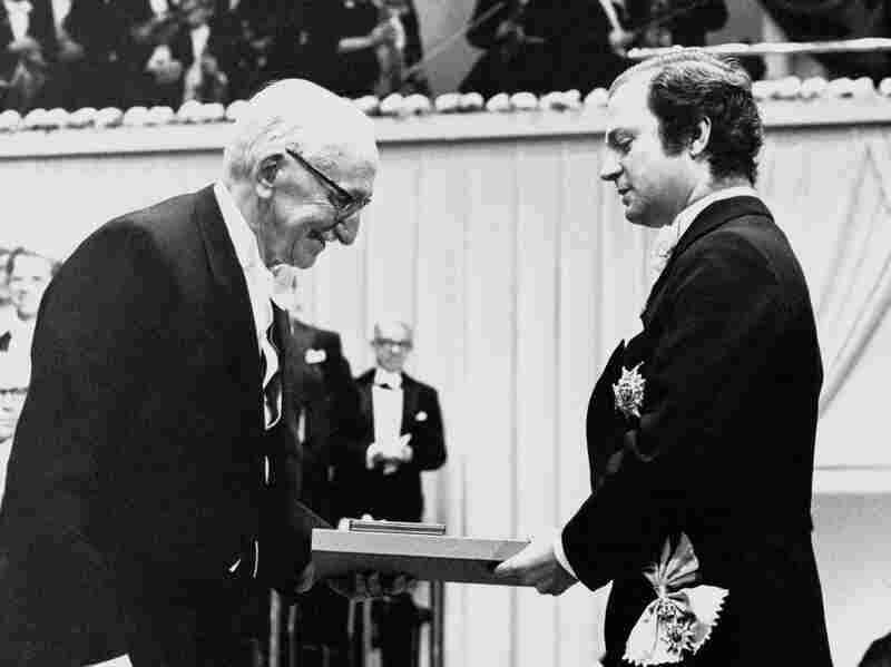 Professor Friedrich von Hayek from Austria receives his Nobel Prize in Economy from Swedish King Carl Gustaf, December 1974.