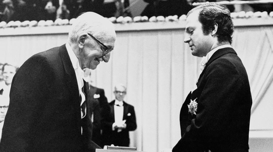 Professor Friedrich von Hayek from Austria receives his Nobel Prize in Economy from Swedish King Carl Gustaf, December 1974.