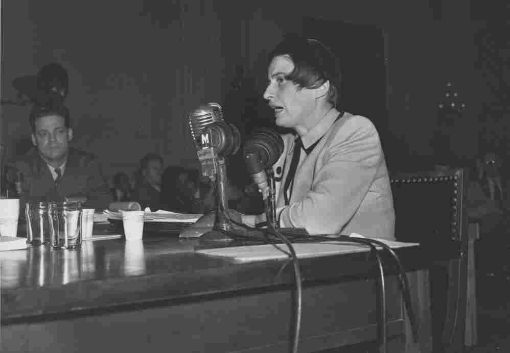 Ayn Rand testifying before the House Un-American Activities Committee, Oct. 20, 1947.