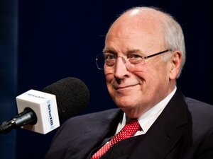Former Vice President Dick Cheney is interviewed by SiriusXM Patriot host David Webb at SiriusXM studios on Oct. 25, 2011 in Washington, DC.