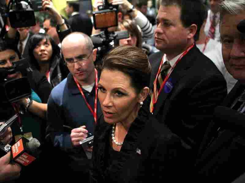Republican presidential candidate Rep. Michele Bachmann (R-MN) speaks to members of the media after a presidential debate at Wofford College Nov. 12, 2011 in Spartanburg, South Carolina.